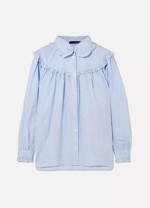 ALEXACHUNG Ruffled Striped Cotton-poplin Shirt - Blue