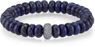 Lapis Sheryl Lowe 10mm Rondelle Bead Bracelet with Diamond Donut