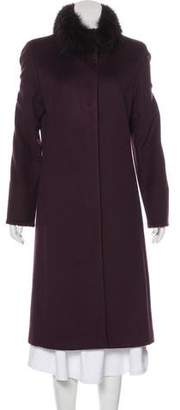 St. John Fur-Trimmed Wool Coat
