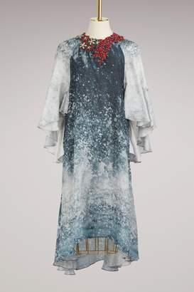 Biyan Ocean Silk Print Trapeze Dress