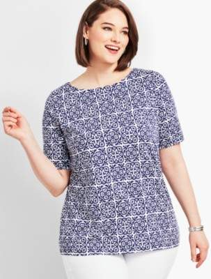Talbots Scallop-Neck Elbow-Sleeve Tee-Tile Print
