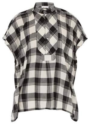Faith Connexion Sleeveless Checked Cotton Shirt - Mens - Black White