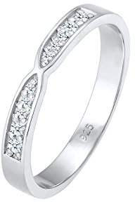 Diamore DIAOV Women's 925 Sterling Silver Basic 0.14 ct Diamond Band Ring