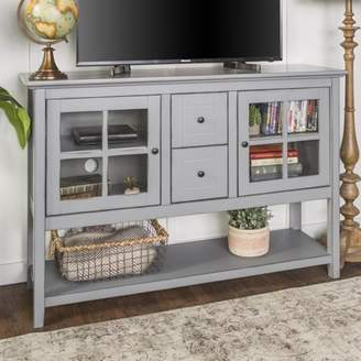 """Manor Park 52"""" Transitional Wood Glass Console Table Highboy Buffet TV Stand - Antique Grey"""