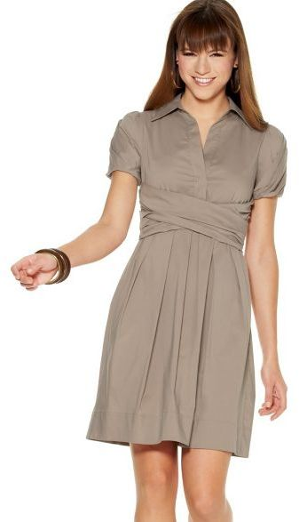 BCBGMAXAZRIA Stretch Cotton Poplin Dress with Criss-Cross Waist