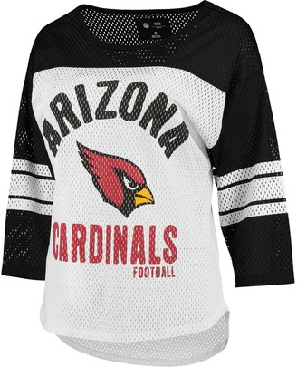 G Iii Women's G-III 4Her by Carl Banks White/Black Arizona Cardinals First Team Three-Quarter Sleeve Mesh T-Shirt