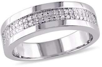 Miabella Diamond-Accent Sterling Silver Men's Semi-Eternity Anniversary Ring