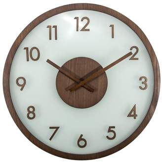 Nextime Round Wood & Frosted Glass Clock