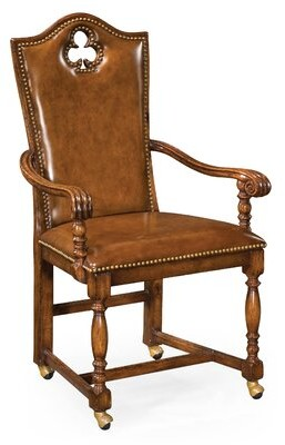 """Jonathan Charles Fine Furniture High Back Playing Card """"Club"""" Genuine Leather Upholstered Dining Chair Jonathan Charles Fine Furniture"""