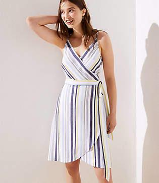 LOFT Tall Striped Strappy Wrap Dress