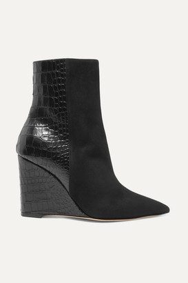 Giuseppe Zanotti Kristen Suede And Croc-effect Leather Wedge Ankle Boots - Black