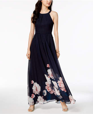 Betsy & Adam Placed-Floral Chiffon Halter Gown