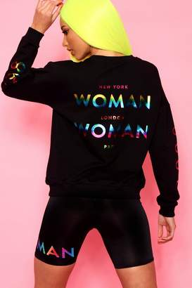 boohoo Woman Rainbow Foil Print Oversized Sweat