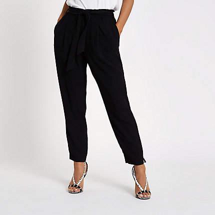 Womens Petite Black tie waist tapered trousers