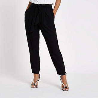 River Island Black Grey tie waist tapered trousers