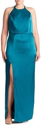 ABS by Allen Schwartz ABS, Plus Size Women's Open-Back Halter Gown
