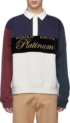 Alexander Wang 'Platinum' slogan embroidered colourblock long sleeve polo shirt