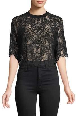 Jonathan Simkhai Lace Combo Crop T-Shirt Top