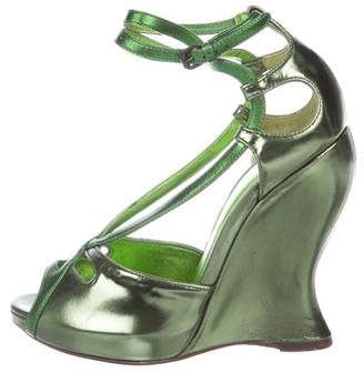 Bottega Veneta Metallic Leather Wedges