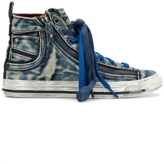 Diesel effect hi-top sneakers