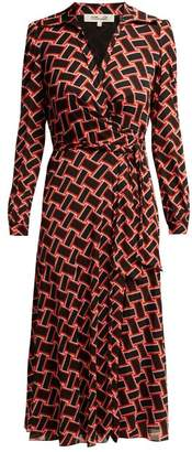 Diane von Furstenberg Phoenix Wrap Front Dress - Womens - Black Red
