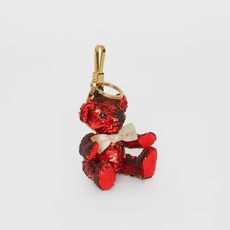 Burberry Thomas Bear Charm in Sequins and Leather, Red
