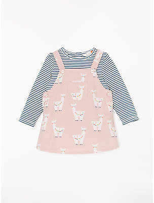 John Lewis & Partners Baby Lama Cord Dress and Top Set, Pink