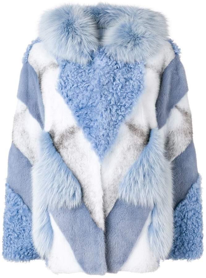 fur mix hooded jacket