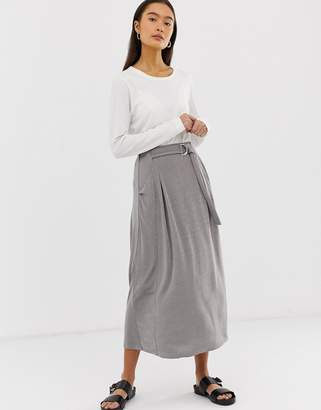 Asos Design DESIGN wrap D-ring midi skirt in jersey with pockets