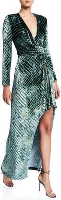 J. Mendel Diamond-Burnout Velvet Wrap Gown