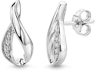 83759e3ca36b clear Miore 925 Sterling Silver Stud Earrings with 8 Zirconia Crystals for  Women
