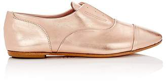 Barneys New York WOMEN'S METALLIC LEATHER LACELESS OXFORDS