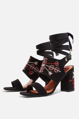 Topshop Roxanne Two Part Embroidered Heels