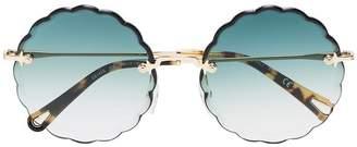 Chloé Eyewear green and metallic gold rosie sunglasses