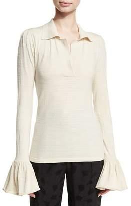 Co Bell-Sleeve Silk-Blend Polo
