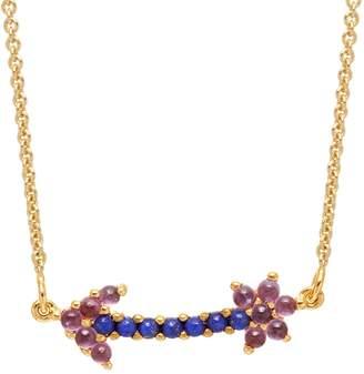 Lola Rose London - Arrow Mini Charm Necklace Lapis Lazuli & Rhodolite Garnet