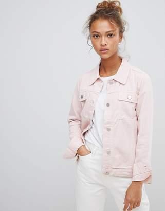 WÅVEN Lana Pink Denim Jacket with Wolf Embroidery