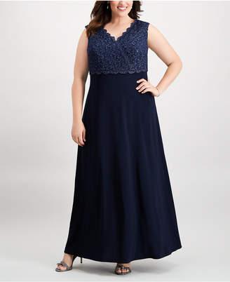 Alex Evenings Plus Size Solid & Glitter Lace Surplice Gown