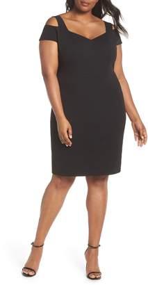 Eliza J Cold Shoulder Crepe Sheath Dress