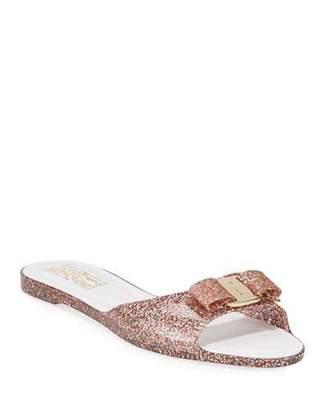 3de194f5fff65 Salvatore Ferragamo Cirella Glittered Jelly Slide Sandals