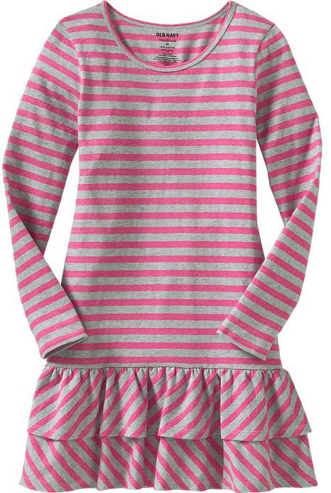 Girls Striped Ruffle-Trim Dresses