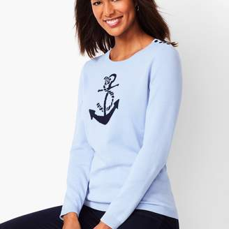 Talbots Anchor Motif Crewneck Sweater