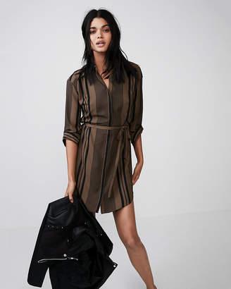 Express Petite Long Sleeve Tie Front Shirt Dress
