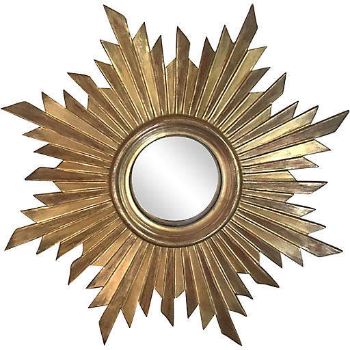One Kings Lane Vintage Gilded Wood Convex Sunburst Mirror - majolicadream