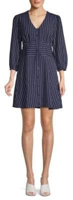 Pinstriped Puffed-Sleeve A-Line Dress