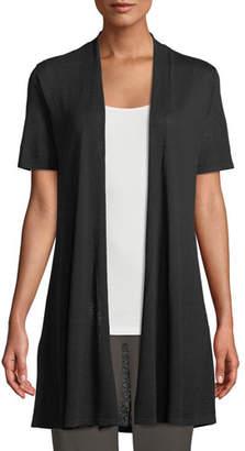 Eileen Fisher Short-Sleeve Fine Silk-Organic Linen Long Cardigan