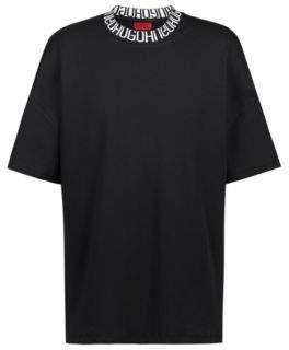 HUGO Boss Oversized-fit T-shirt reverse-logo neckline L Black