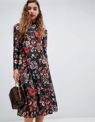 Monki high neck floral print midi dress