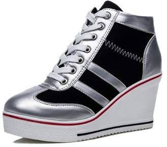 f53bb4ef795c IINFINE Women s Casual Sneaker High-Heeled Fashion Canvas Shoes High Pump Lace  UP Wedges Side