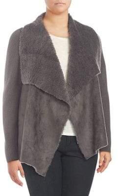Context Plus Plus Fleece-Lined Open Cardigan